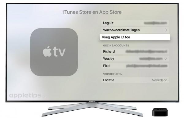 Extra iTunes account Apple TV 4
