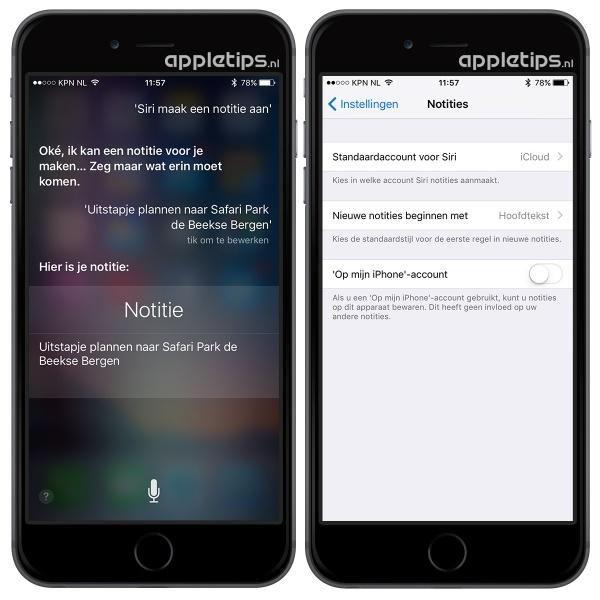 Notitie aanmaken met Siri