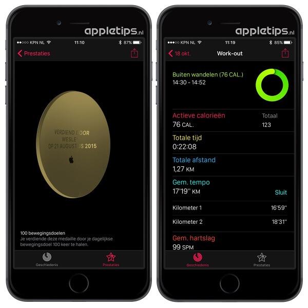 activiteit app op de iPhone