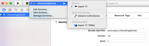 apple tv in  xcode selecten