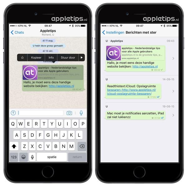 Whatsapp berichten met een ster