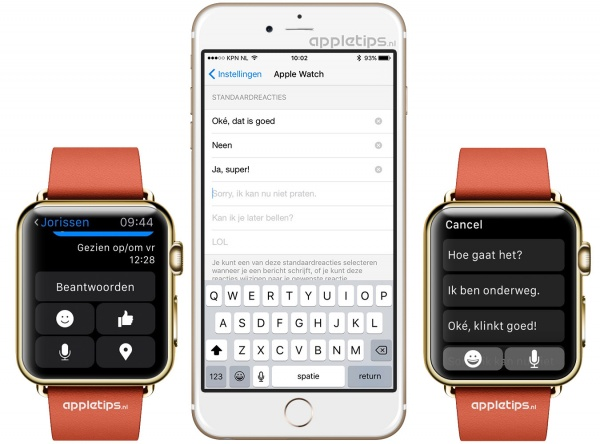 messenger antwoorden Apple Watch