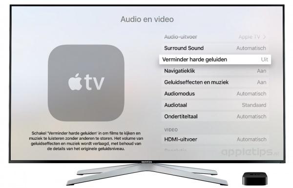verminder harde geluiden apple tv 4