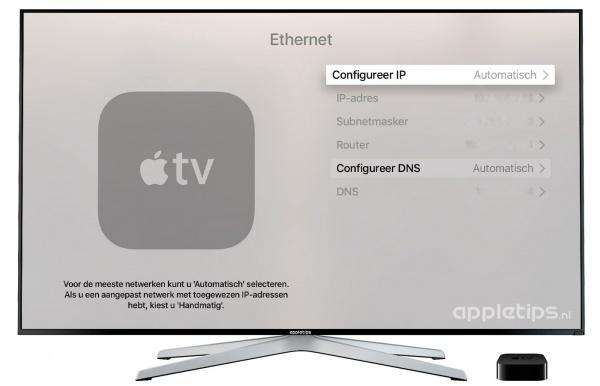 Netwerkinstellingen wijzigen Apple TV 4