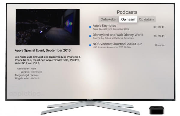 podcasts via thuisdeling Apple TV 4