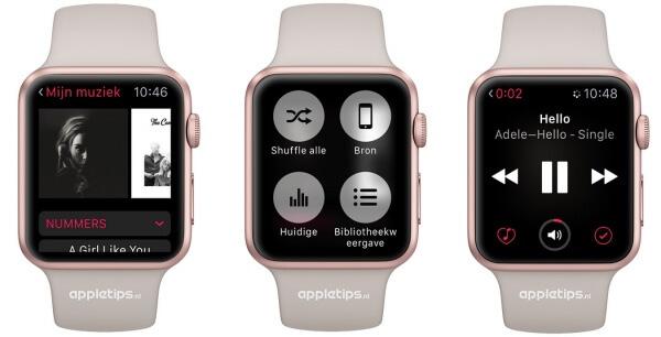shuffle muziek Apple Watch