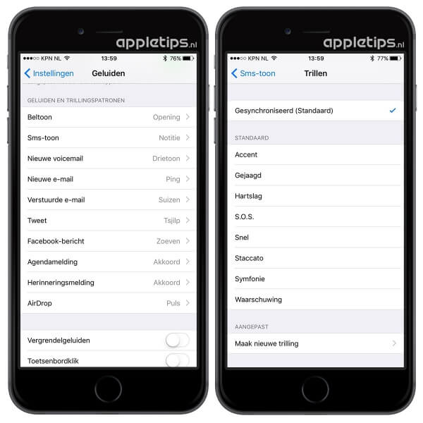 trillingen iPhone 6s aanpassen