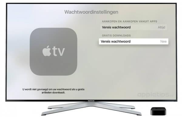 wachtwoordinstellingen Apple TV 4