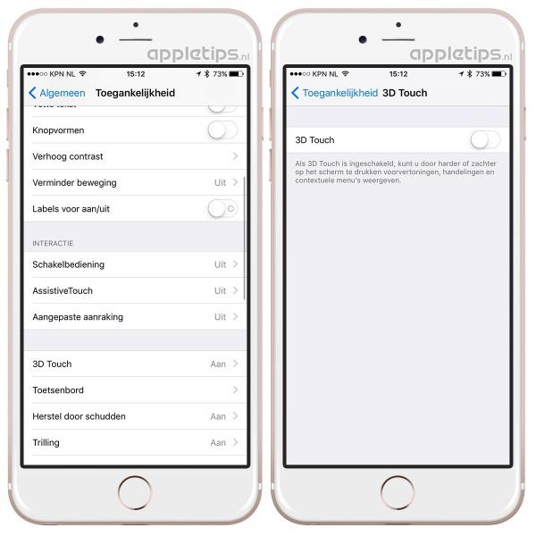 3d touch uitschakelen iphone