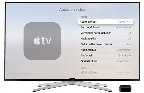 Audio-uitvoer Apple TV