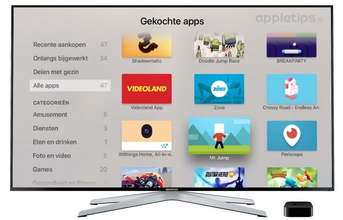 eerder gekochte apps apple tv opnieuw downloaden