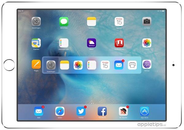 wisselen tussen apps in iOS 9