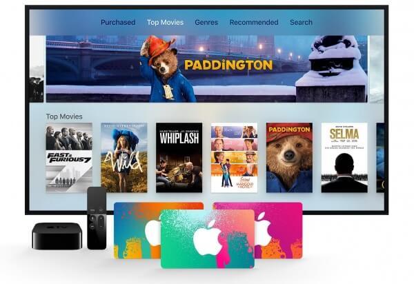 Apple TV met itunes kaarten voor de TV