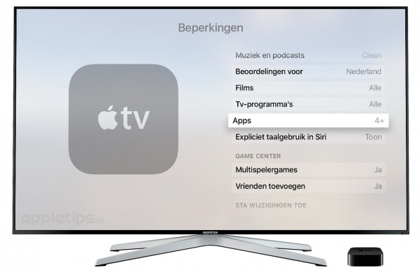 Beperkingen op de Apple TV  4