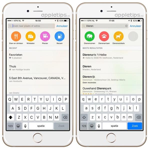 Dichtbij-suggesties iOS 9