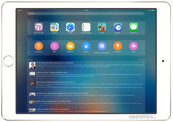 Dichtbij-suggesties iOS 9 ipad