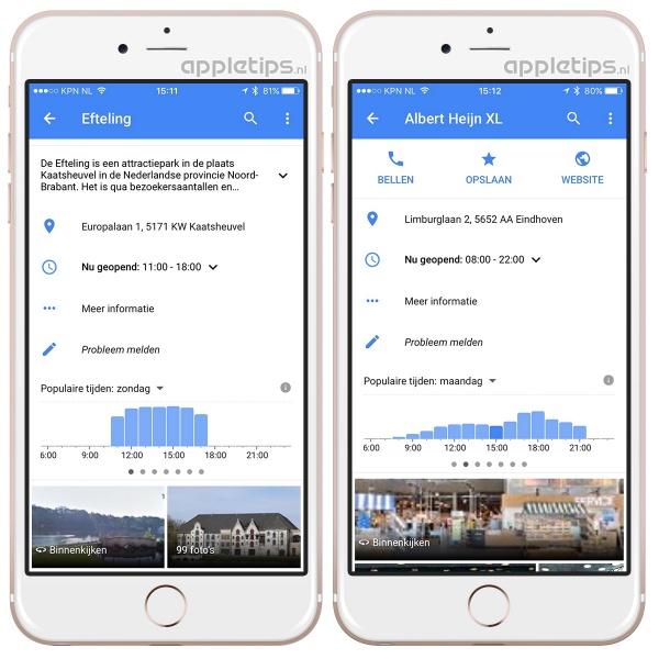 Drukte google maps controleren
