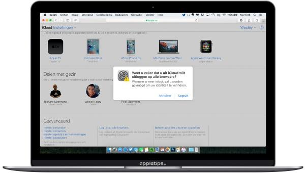 Log iCloud uit