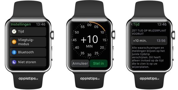 Tijd Apple Watch vooruitzetten
