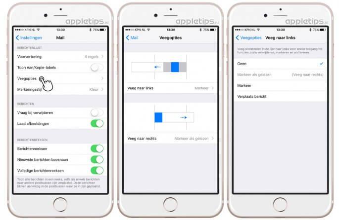 Veegopties in iOS mail volledig uitschakelen