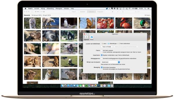 verminder beweging in Foto's app OS X