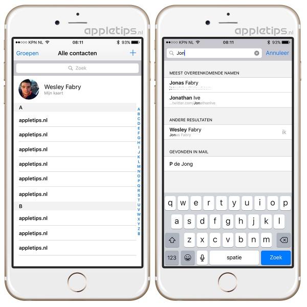 Zoeken in contacten iOS