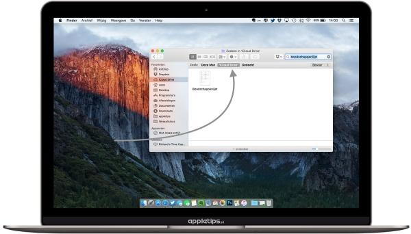 zoeken iCloud Drive OS X op mac
