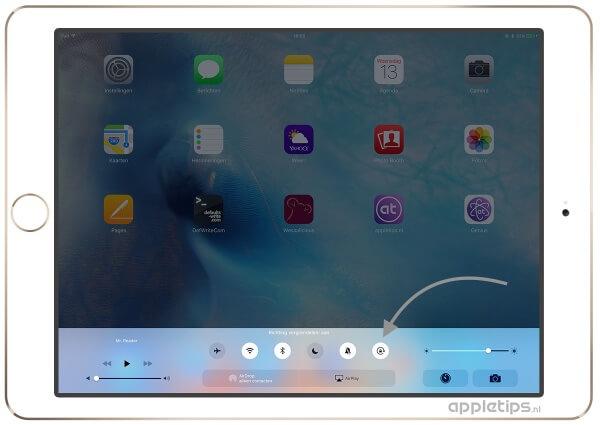 Het bedieningspaneel in iOS op een iPAd