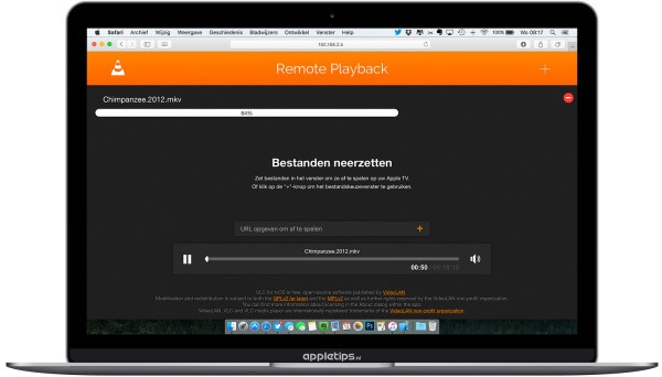 Remote Playback in een webbrowser voor VLC (de balk is oranje)