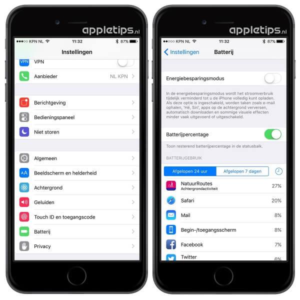 batterijpercentage activeren op een iPhone via instellingen