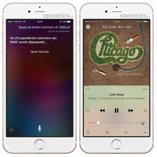 Apple Music Siri commando beste nummers uit een periode