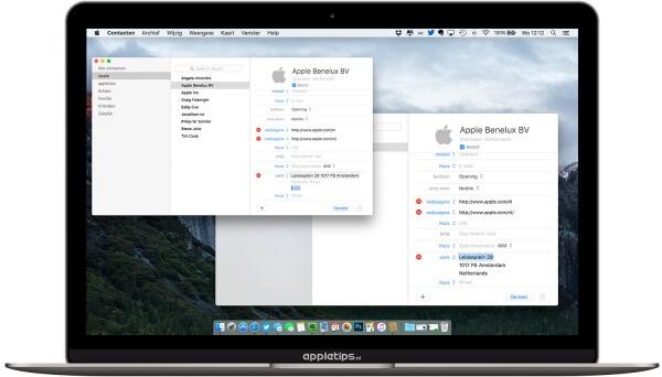 Voorbeeld van de contacten applicatie in OS X El Capitan