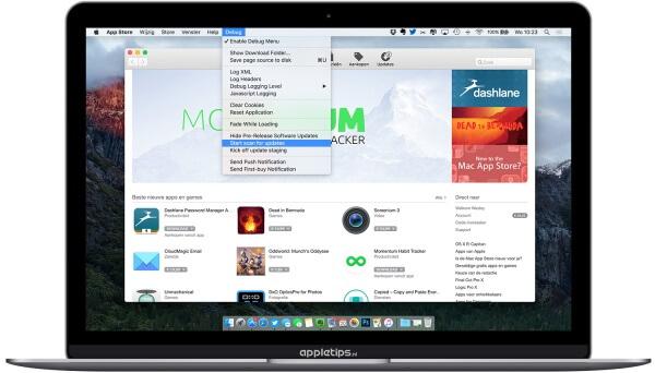 Debug mac app store activeren en raadplegen voor extra opties