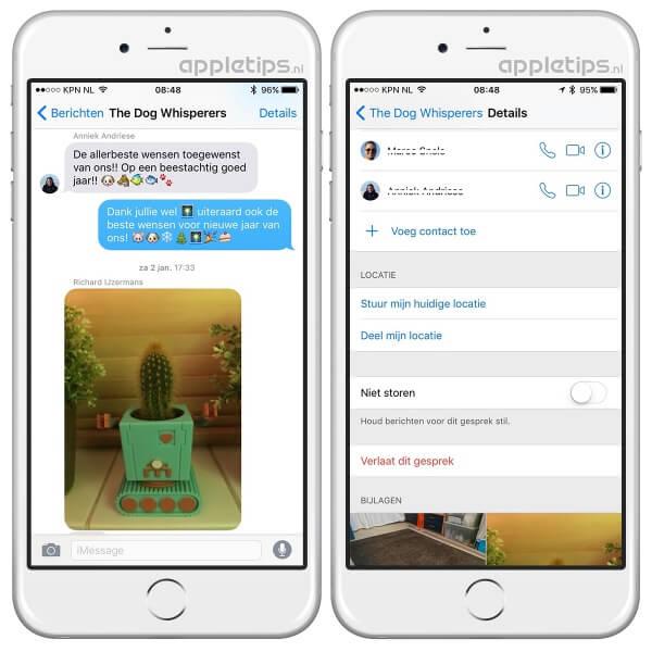 Groepsgesprek verlaten in iOS, je ziet een voorbeeld van een gesprek en de instellingen