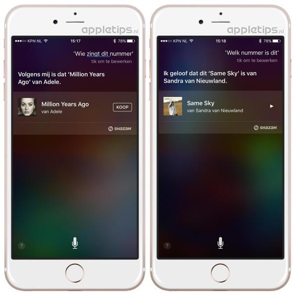 Apple Music Siri commando muziek herkennen