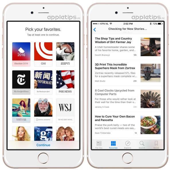Toch de news app installeren, voorbeeld