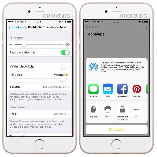 Nieuw in iOS 9.3 beta zoals blauw licht
