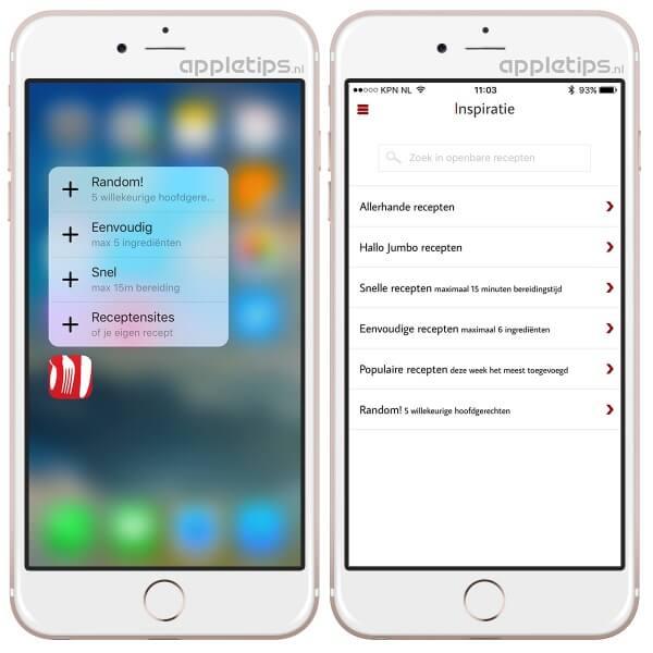 voorbeeld van de nieuwe receptenmaker app