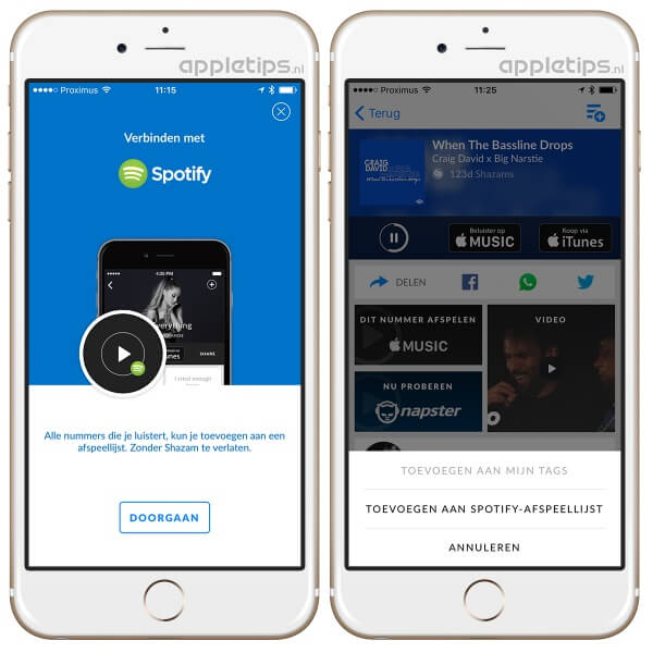 Shazam applicatie die spotify verbind