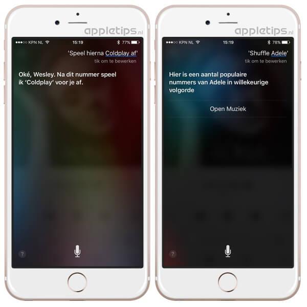 Apple Music Siri commando speel hierna af