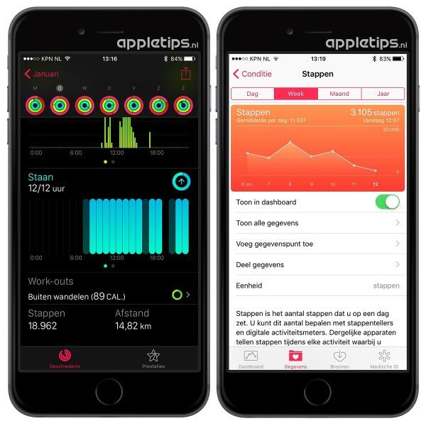 Stappen en afstand controleren in een zwarte activiteit app