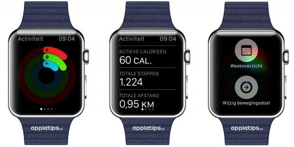De activiteit app op de Apple Watch die je gelopen stappen en afstand toont