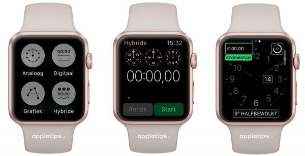 Stopwatch op de Apple Watch, Rosegoud watch