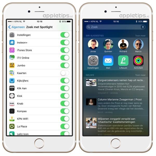 Dichtbij-suggesties uitschakelen in iOS, hier zie je de instellingen en het resultaat