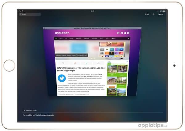 Een overzicht van een tabblad in Safari op een iPAd PRo