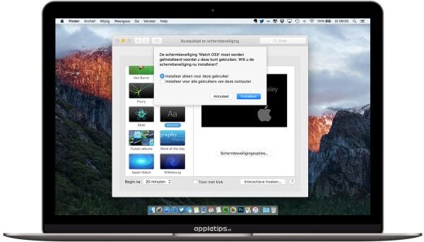 WatchOS X screensaver installleren op een Mac voor alle gebruikers