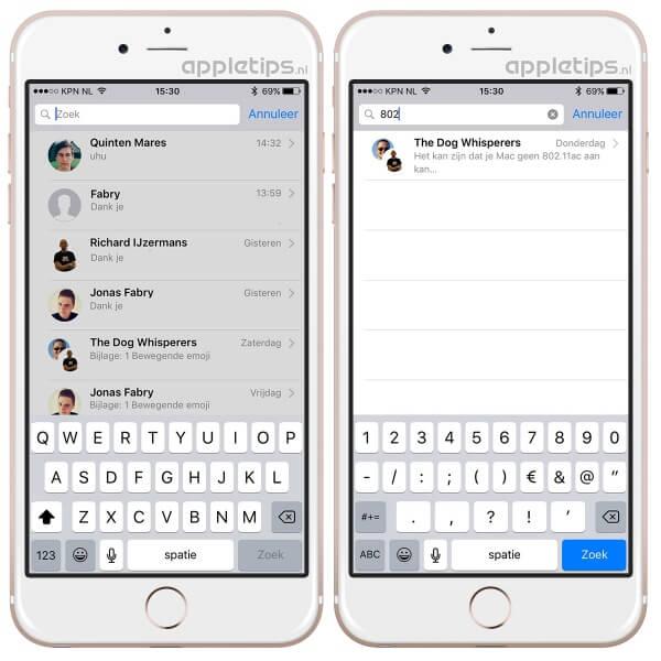 zoeken in berichten app op je iPhone