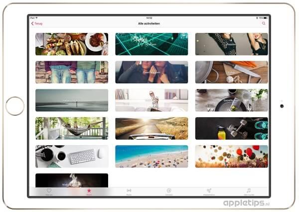 Apple Music afspeelijsten op basis van activiteit