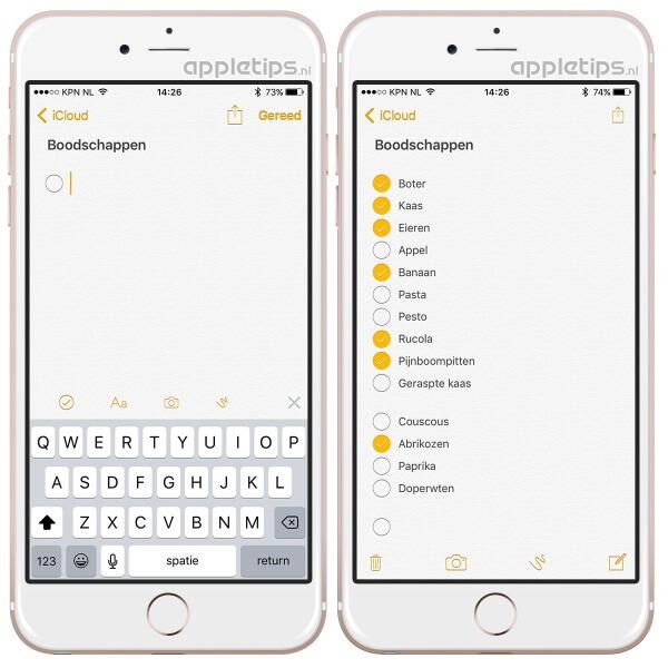 Checklist aanmaken in iOS voor iPhone en iPAd