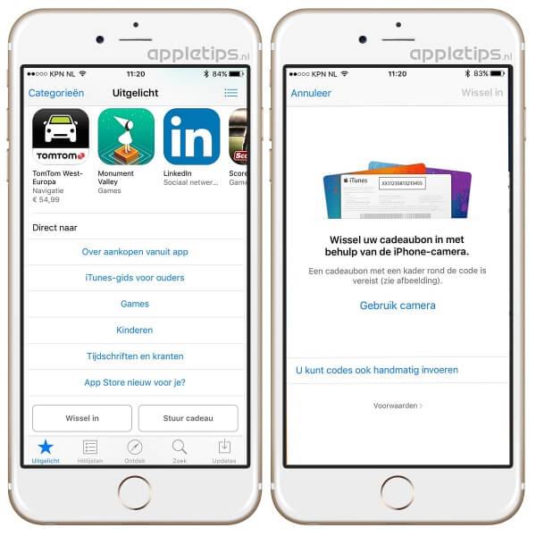Promocode inwisselen in iOS